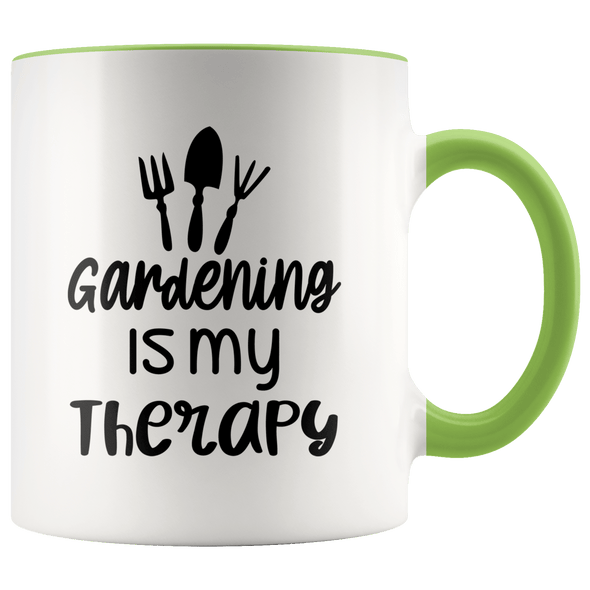 Gardening Is My Therapy Accent Mug Green - Tierra Bella