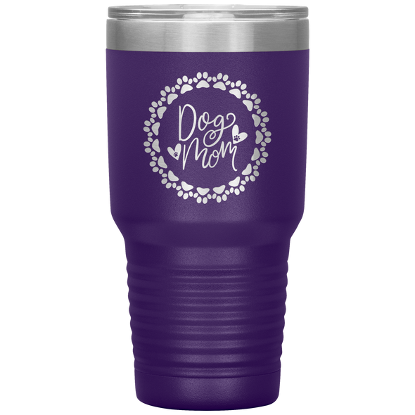 Dog Mom Wreath 30oz Tumbler Purple - Tierra Bella