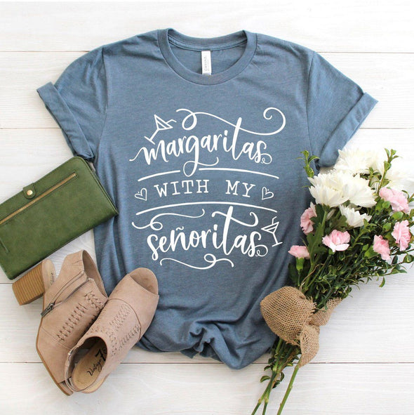 Margaritas With My Senoritas Unisex Tee Heather Slate S - Tierra Bella