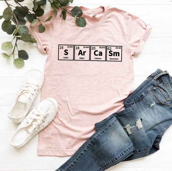 Sarcasm Periodic Table Tee Heather Prism Peach XS - Tierra Bella
