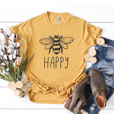 Bee Happy Unisex Tee Antique Gold S - Tierra Bella