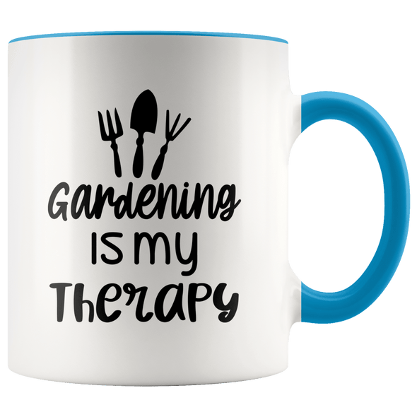 Gardening Is My Therapy Accent Mug Blue - Tierra Bella