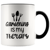 Gardening Is My Therapy Accent Mug Black - Tierra Bella