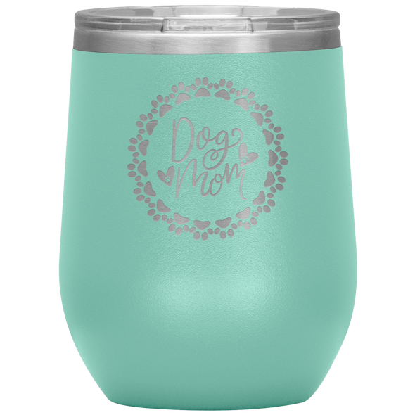 Dog Mom Wreath Stemless Wine Tumbler Teal - Tierra Bella
