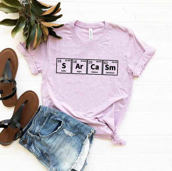 Sarcasm Periodic Table Tee Heather Prism Lilac XS - Tierra Bella