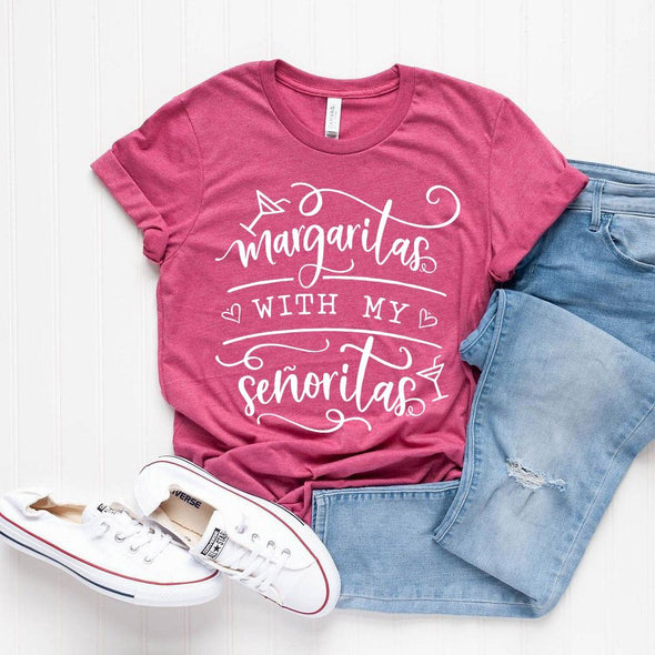 Margaritas With My Senoritas Unisex Tee Heather Berry XS - Tierra Bella