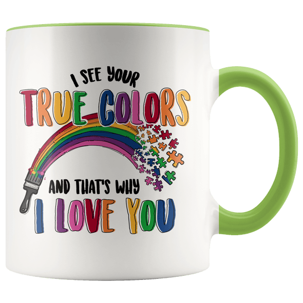 I See Your True Colors Autism Awareness Accent Mug Green - Tierra Bella