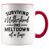 Surviving Motherhood One Meltdown at a Time Accent Mug Red - Tierra Bella