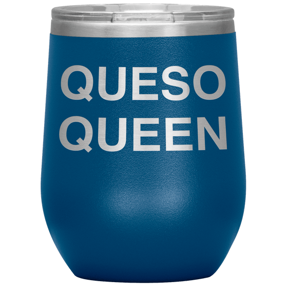 Queso Queen Stemless Wine Tumbler Blue - Tierra Bella