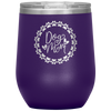 Dog Mom Wreath Stemless Wine Tumbler Purple - Tierra Bella
