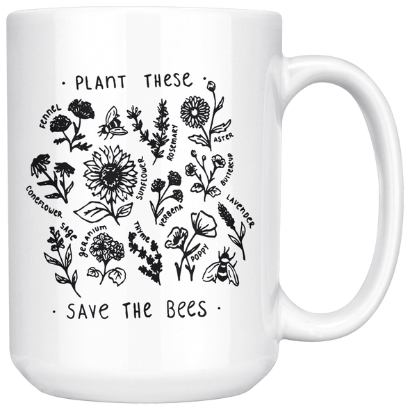 Plant These Save the Bees 15oz Mug White - Tierra Bella