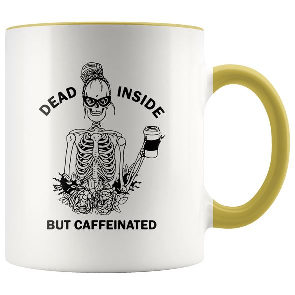 Dead Inside But Caffeinated Accent Mug Yellow - Tierra Bella