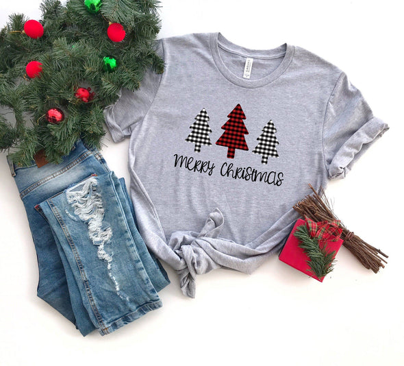 Merry Christmas Plaid Trees Unisex Jersey Tee XS Athletic Heather - Tierra Bella