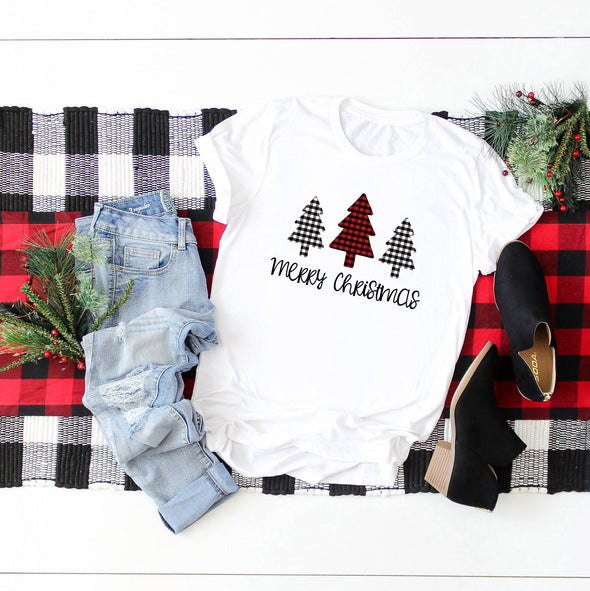 Merry Christmas Plaid Trees Unisex Jersey Tee XS White - Tierra Bella