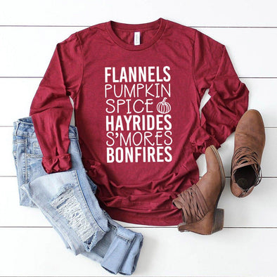 Flannels and Pumpkin Spice Fall List Unisex Long Sleeve Tee - Tierra Bella