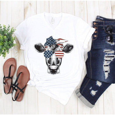 4th Of July Red White And Blue Cow Unisex V-Neck Tee - Tierra Bella