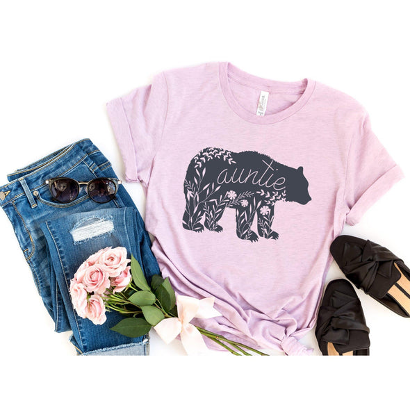 Floral Auntie Bear Unisex Jersey Tee XS Heather Prism Lilac - Tierra Bella