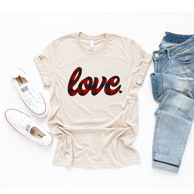 Love Plaid Unisex Jersey Tee XS Tan Heather - Tierra Bella