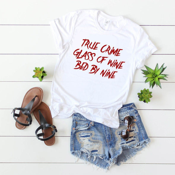 True Crime Glass Of Wine Bed By Nine Jersey Tee - Tierra Bella