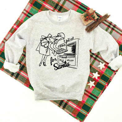I Put Out For Santa Funny Christmas Sweatshirt S Ash - Tierra Bella