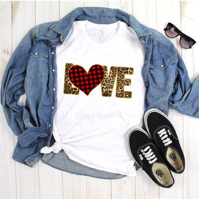 Plaid and Leopard Love Heart Unisex Jersey Tee XS White - Tierra Bella