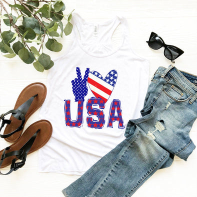 Peace Love USA 4th of July Women's Tank Top - Tierra Bella