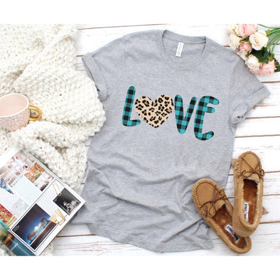 Love Plaid and Leopard Unisex Jersey Tee XS Athletic Heather - Tierra Bella