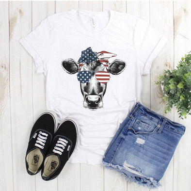 4th Of July Red White And Blue Cow Unisex Jersey Tee - Tierra Bella