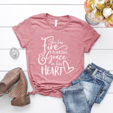She Has a Fire In Her Soul and Grace In Her Heart Unisex Jersey Tee - Tierra Bella