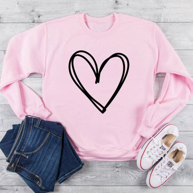 Hand-drawn Heart Sweatshirt S Light Pink - Tierra Bella