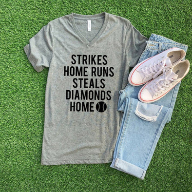 Strikes Home Runs Steals Diamonds Home Baseball Unisex V-Neck Tee - Tierra Bella