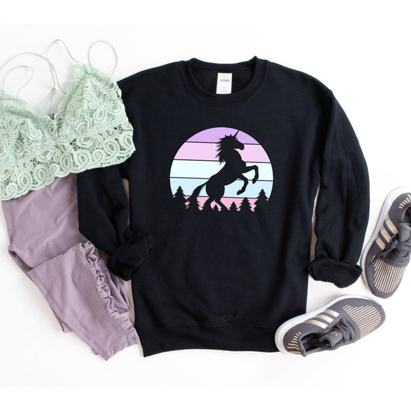 Unicorn Retro Sunset Sweatshirt S Black - Tierra Bella