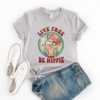 Live Free Be Hippie Unisex Jersey Tee XS Athletic Heather - Tierra Bella
