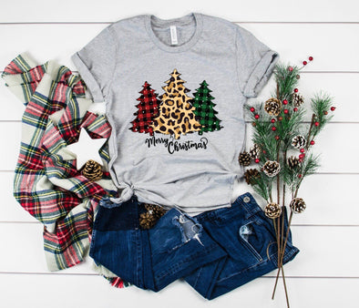 Merry Christmas Trees Plaid and Leopard Unisex Jersey Tee - Tierra Bella
