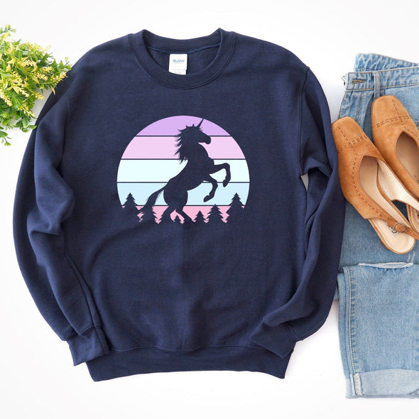 Unicorn Retro Sunset Sweatshirt S Navy - Tierra Bella