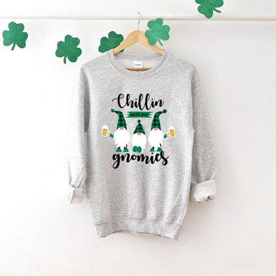 Chillin With My Gnomies St. Patrick's Day Sweatshirt - Tierra Bella