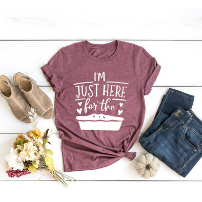 I'm Just Here for the Pie Unisex Jersey Tee XS Heather Maroon - Tierra Bella