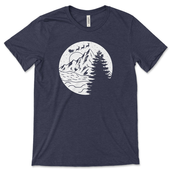 Santa Christmas Mountain Scene Unisex Jersey Tee XS Heather Midnight Navy - Tierra Bella