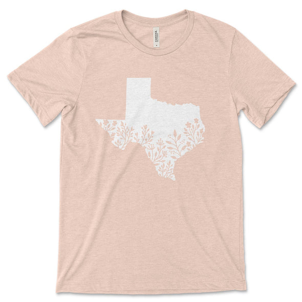 Texas Unisex Jersey Tee XS Heather Prism Peach - Tierra Bella