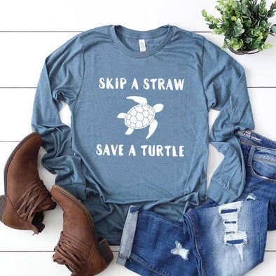 Skip a Straw Save a Turtle Unisex Long Sleeve Tee - Tierra Bella