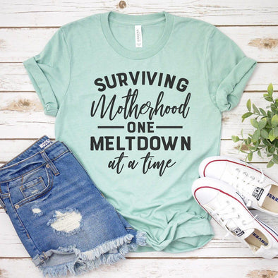 Surviving Motherhood One Meltdown at a Time Unisex Jersey Tee S Heather Prism Dusty Blue - Tierra Bella