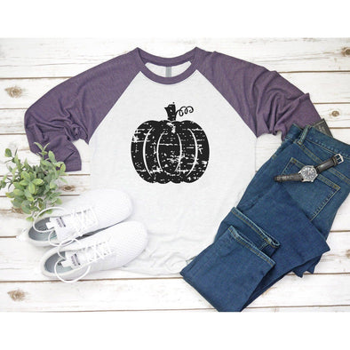 Distressed Pumpkin Unisex Baseball Tee Unisex Baseball Tee L Vintage Purple / Heather White - Tierra Bella