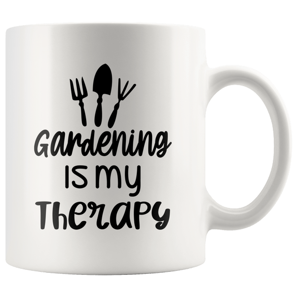 Gardening Is My Therapy Accent Mug White - Tierra Bella