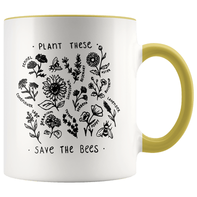 Plant These Save the Bees Accent Mug Yellow - Tierra Bella