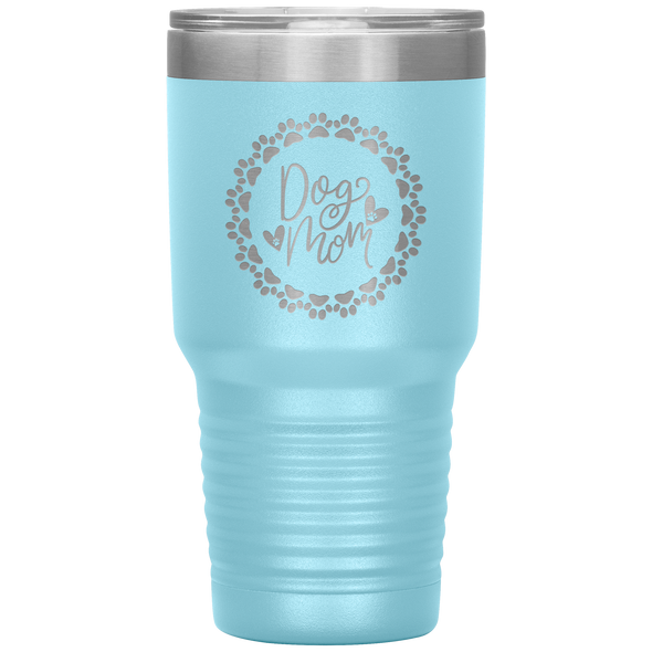 Dog Mom Wreath 30oz Tumbler Light Blue - Tierra Bella