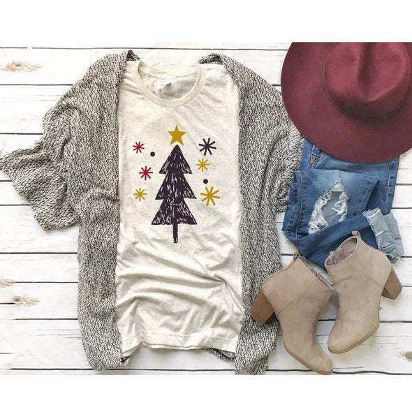 Christmas Trees And Snowflakes Unisex Jersey Tee - Tierra Bella