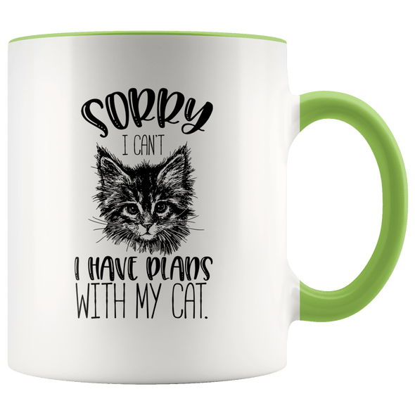 Sorry I Can't I Have Plans With My Cat Accent Mug Green - Tierra Bella