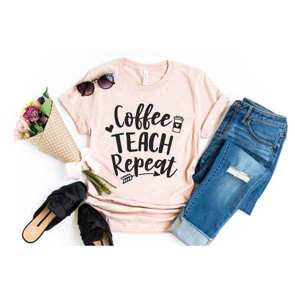 Coffee Teach Repeat Unisex Jersey Tee - Tierra Bella
