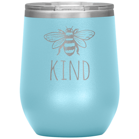 Bee Kind Stemless Wine Tumbler Light Blue - Tierra Bella