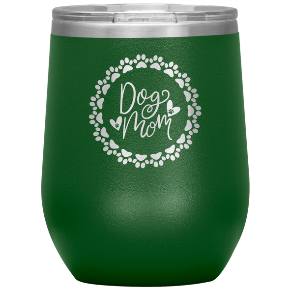 Dog Mom Wreath Stemless Wine Tumbler Green - Tierra Bella